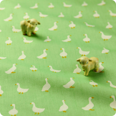 Birds - green & white goose cotton fabric