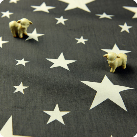 Stars - grey & white cotton fabric