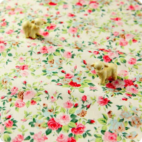 Flowers - pink & green floral cotton fabric