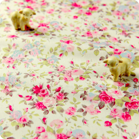 Flowers - pink & purple lilac floral cotton fabric