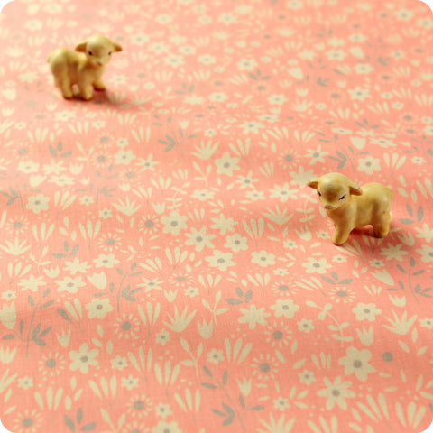 Ditsy - pink & white floral cotton fabric