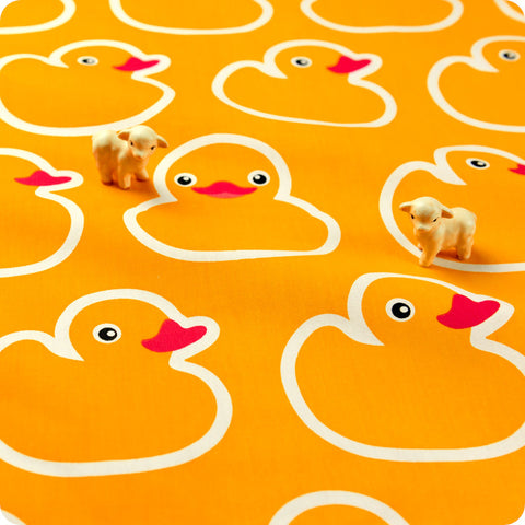 Farm - yellow & white giant rubber duck (extra wide 160cm) cotton fabric
