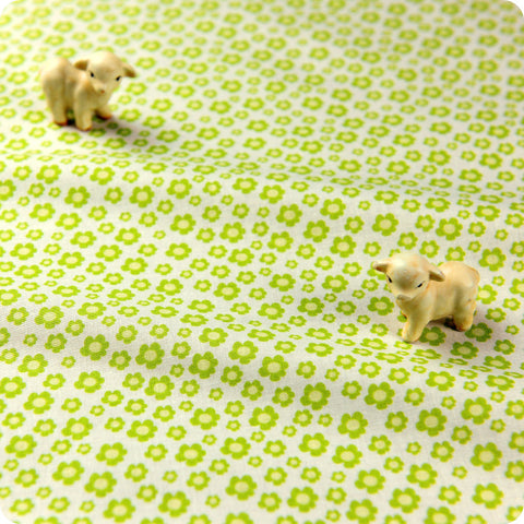 Ditsy - green & white floral cotton fabric