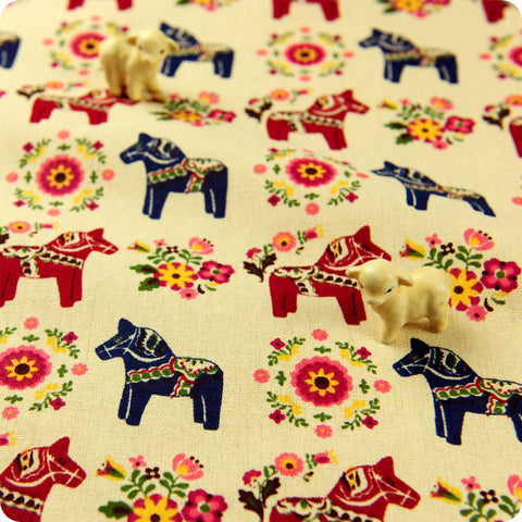 Farm - blue navy & red scarlet Scandi horse & folkloric floral natural hessian linen fabric