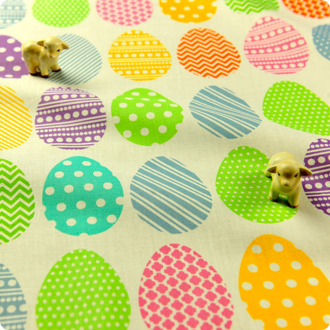 Easter - white multicoloured Easter eggs cotton fabric