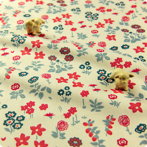 Flowers - white blue & red floral cotton fabric