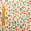 Flowers - white blue & red floral (extra large) cotton fabric