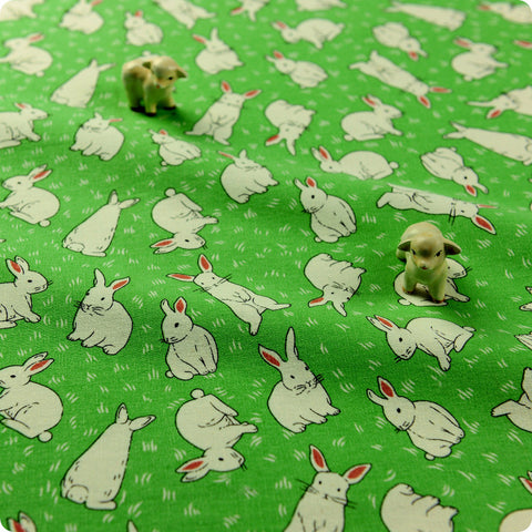 Woodland - green & white rabbits linen fabric