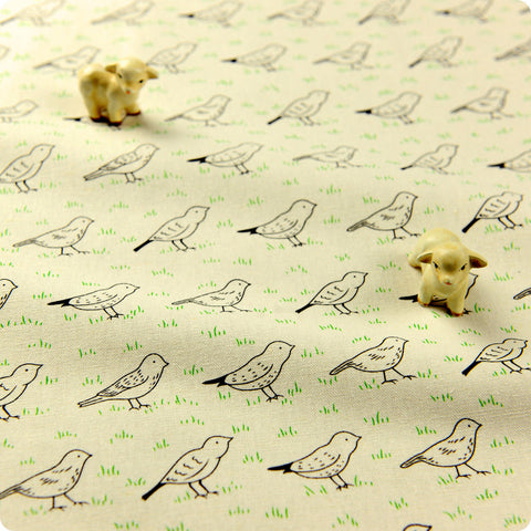 Birds - white tweeting birds linen fabric