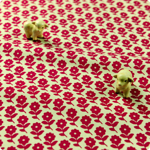 Flowers - pink & white floral cotton fabric