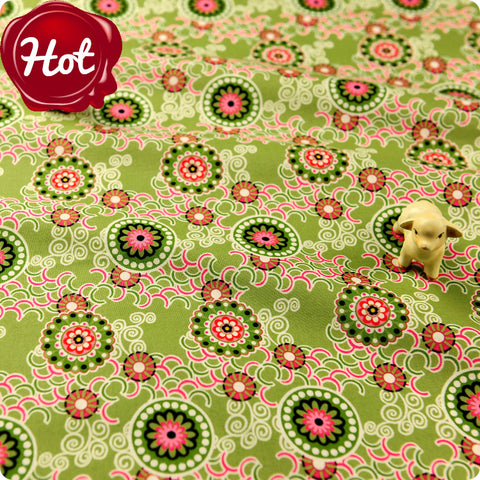 Flowers - green & pink floral cotton fabric