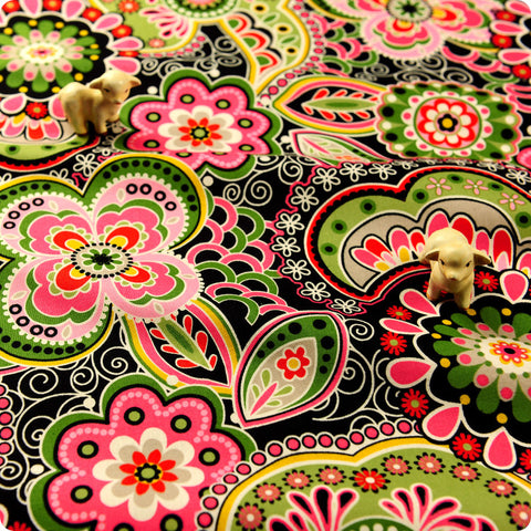 Bold floral - green multicoloured flowers cotton fabric