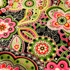 Bold floral - green & pink flowers cotton fabric