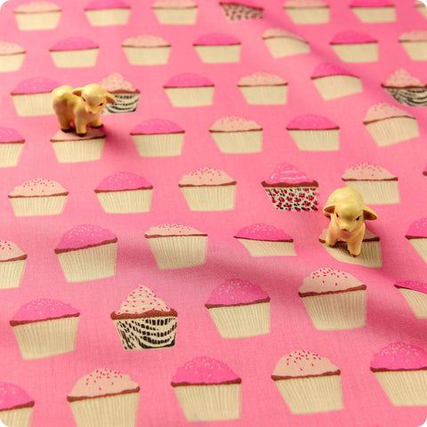 Food - pink cupcakes cotton fabric