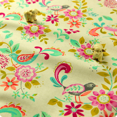 Flowers - multicoloured floral cotton fabric