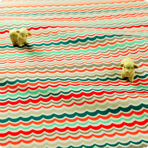 Stripe - multicoloured retro waves cotton fabric