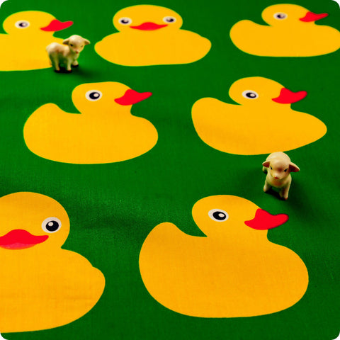 Farm - green & yellow big rubber ducks cotton fabric