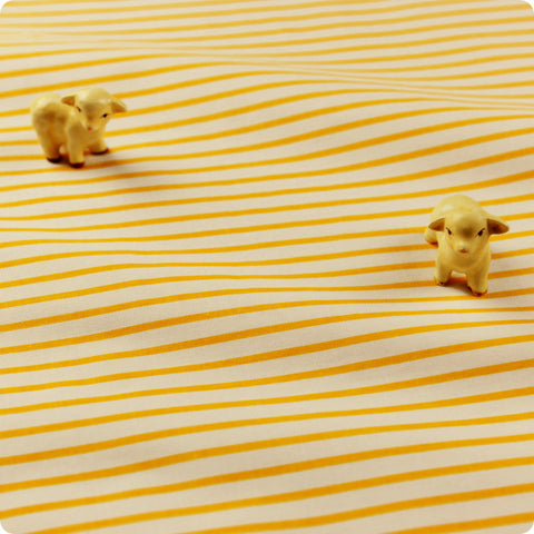 Stripe - yellow & white 2mm stripes cotton fabric
