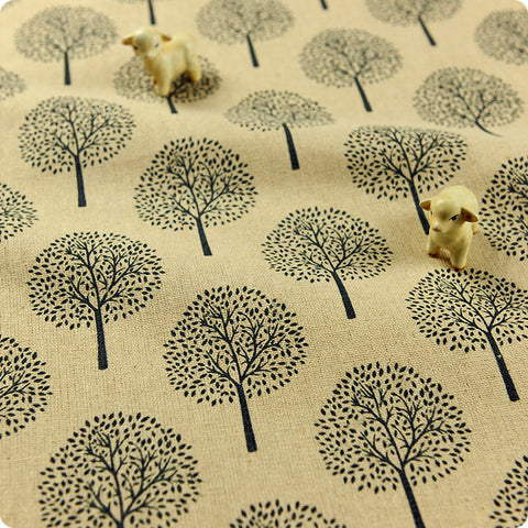 Woodland - blue tree motif distressed natural hessian linen fabric (extra wide 158cm)