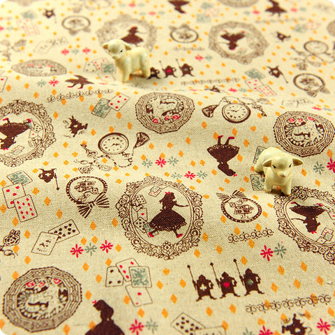 Alice in Wonderland - brown distressed natural hessian linen fabric