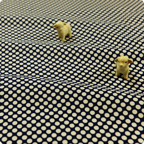 Polka dots - blue navy & white 6mm spots cotton fabric