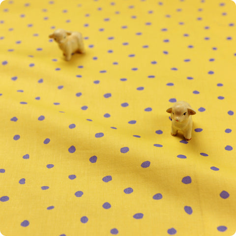 Polka dots - yellow & purple irregular spots cotton fabric W:160cm FQ1606-26