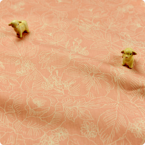 Leaf - pink floral cotton fabric