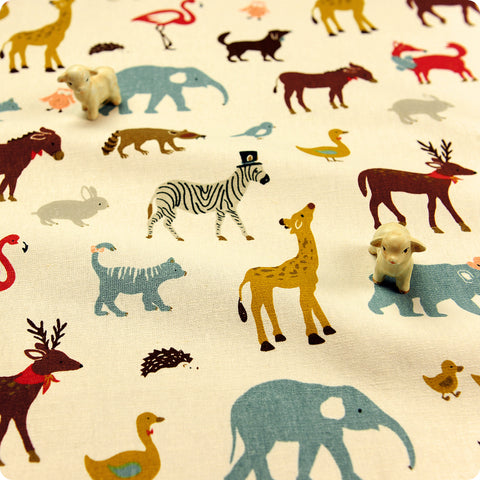 Zoo - beige multicoloured animals linen blend fabric W:140cm FQ1606-34