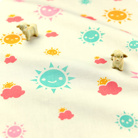 [SALE] Weather - white kawaii sunny days cotton fabric W:160cm FQ1606-44