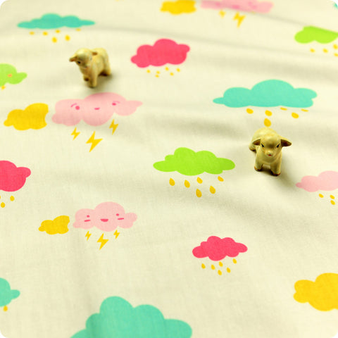 Weather - white kawaii rainy days (width:160cm) cotton fabric