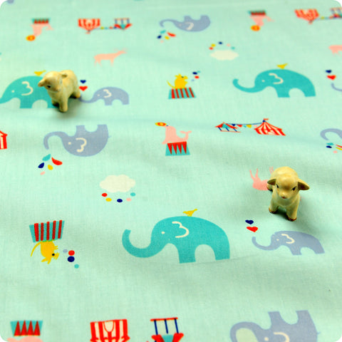 Zoo - blue elephant & seal circus (width:160cm) cotton fabric
