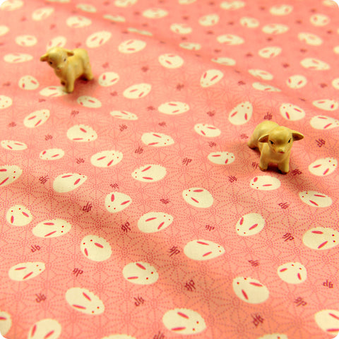 Woodland - pink Japanese rabbits & hexagon cotton fabric