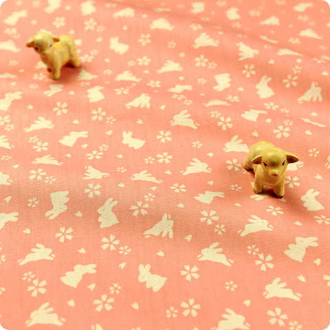 Woodland - pink Japanese rabbits & cherry blossom cotton fabric