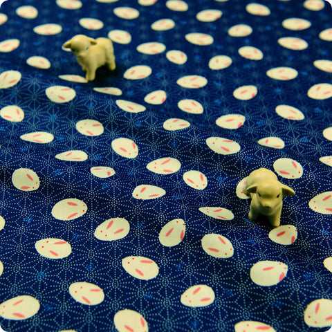 Woodland - blue navy Japanese rabbits & hexagon cotton fabric