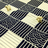 Japanese - blue navy fan & stripe patchwork cotton fabric