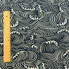 Japanese - blue navy sea waves cotton fabric
