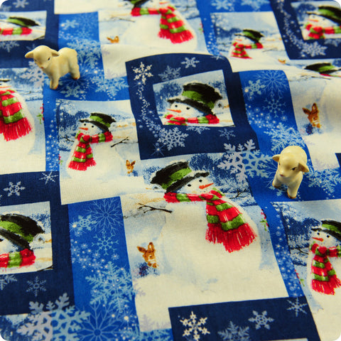 Christmas - blue Xmas snowman cotton fabric FQ1608-16
