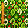 Christmas - green Xmas reindeer & baubles cotton fabric