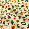 Christmas - beige multicoloured gingerbread man & snowman (width160cm) cotton fabric