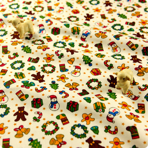 Christmas - beige multicoloured gingerbread man & snowman (width:160cm) cotton fabric FQ1608-19