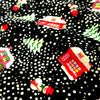 Christmas - black multicolour Xmas villages brushed cotton flannel fabric