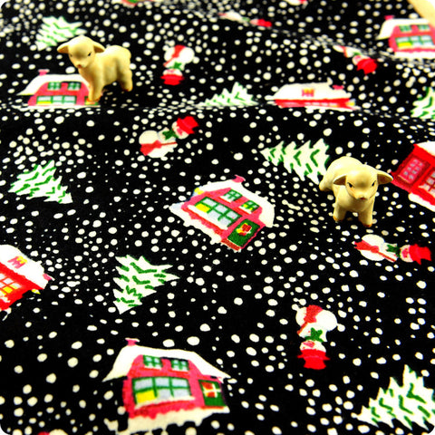 Christmas - black multicolour Xmas villages brushed cotton flannel fabric FQ1608-21