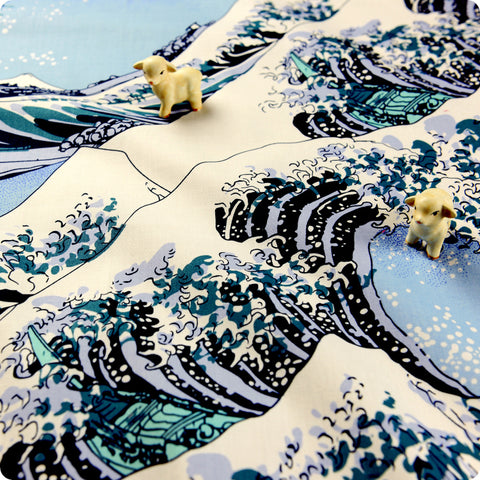 Japanese - blue The Great Wave of Kanagawa cotton fabric W:140cm FQ1608-28