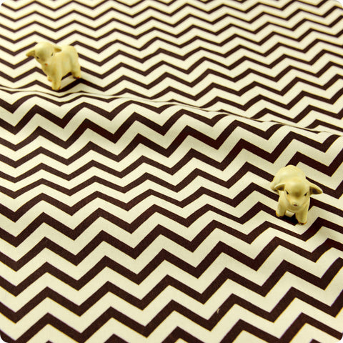 Chevron - brown & white 5mm stripe (width: 160cm) cotton fabric FQ1608-32