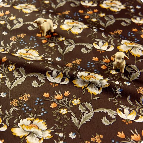 Flowers - brown lush oriental floral cotton fabric