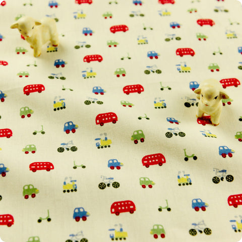 Transport - white multicoloured cars cotton fabric