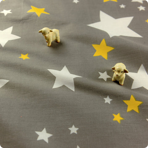 Stars - grey & yellow cotton fabric FQ1608-39