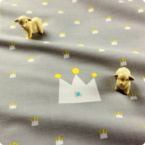 Fairy & Princess - grey & yellow crown cotton fabric