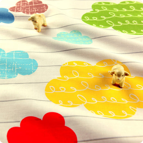 Weather - white multicoloured clouds cotton fabric