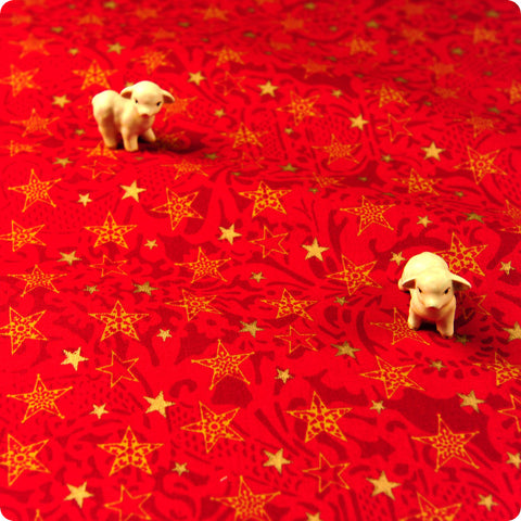 Christmas - red & gold shiny stars cotton fabric